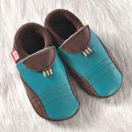 FINS DE SERIES - Chaussons Pololo  en cuir naturel pour toute la famille/Chausson Pololo SPORTY Bleu Azur/Coco (18 à 27)