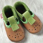 POLOLO SOFT - Chaussons souples en cuir naturel de tannage végétal pour bébés et bambins (16 à 27)/Chausson Pololo ANDALE Brownie – Pistache (18 à 27)