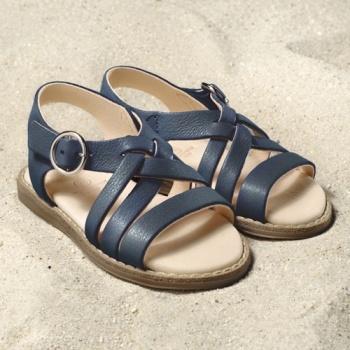 POLOLO MAXI - chaussures pour enfants en cuir écologique  du 24 au 34 Pololo – Sandales NINA BLEU GENTIANE (24 au 34)