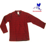 Racine/STORCHENKINDER – T-Shirt  manches longues RAYURES ROUGE-ANTHRACITE en coton bio