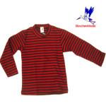Collection STORCHENKINDER ENFANT (tailles 86-140)/STORCHENKINDER – T-Shirt  manches longues RAYURES ROUGE-ANTHRACITE en coton bio