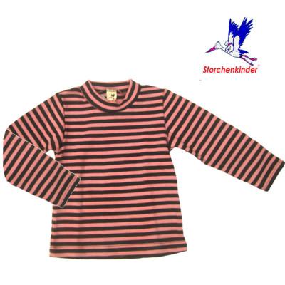 Racine STORCHENKINDER – T-Shirt  manches longues RAYURES ROSE-ANTHRACITE en coton bio