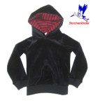 Collection STORCHENKINDER ENFANT (tailles 86-140)/STORCHENKINDER – Sweat à capuche enfant ANTHRACITE / capuche RAYURES ROUGE-ANTHRACITE en coton bio