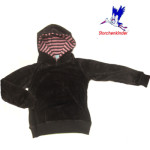 Collection STORCHENKINDER ENFANT (tailles 86-140)/STORCHENKINDER – Sweat à capuche enfant ANTHRACITE / capuche RAYURES ROSE-ANTHRACITE en coton bio