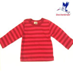 Racine/STORCHENKINDER – T-Shirt BEBE manches longues - Rayures rose/rouges