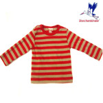 Racine/STORCHENKINDER - T-Shirt BEBE manches longues bicolore rayures rouges-beiges