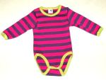 STORCHENKINDER - BODY manches longues RAYURES FUCHSIA-VIOLET en coton bio