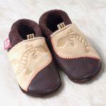 FINS DE SERIES - Chaussons Pololo  en cuir naturel pour toute la famille/Chausson Pololo GECKO marron-beige (18 à 33)