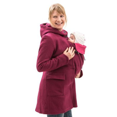 Vestes et manteaux MAMALILA casual MAMALILA MANTEAU de grossesse et portage en LAINE – FUCHSIA- Empiècements inclus