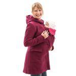 Vestes et manteaux MAMALILA casual/MAMALILA MANTEAU de grossesse et portage en LAINE – FUCHSIA- Empiècements inclus