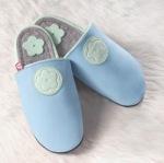 Chaussons en cuir souples, chaussettes, guêtres, jambières/PANTOLO  bleu ciel-pistache (44/45)