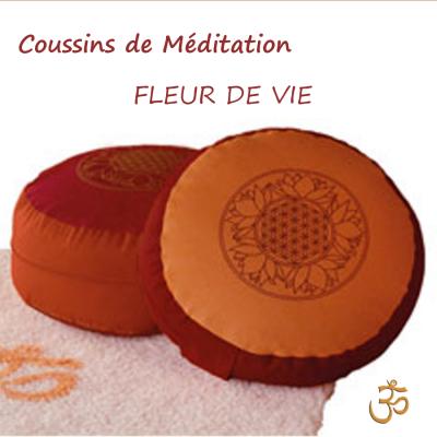 Coussins de médiation - Soie, velours, broderies FLEUR DE VIE – Coussin de méditation SPIRIT OF OM