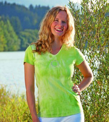 T-SHIRT Manches courtes T-Shirt manches courtes BATIK KIWI avec broderie FLEUR DE VIE