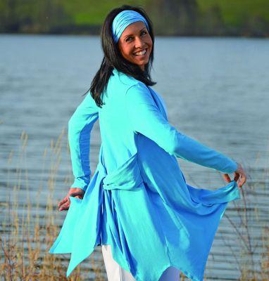 Gilets pour Femmes Gilet long ANANDA – TURQUOISE