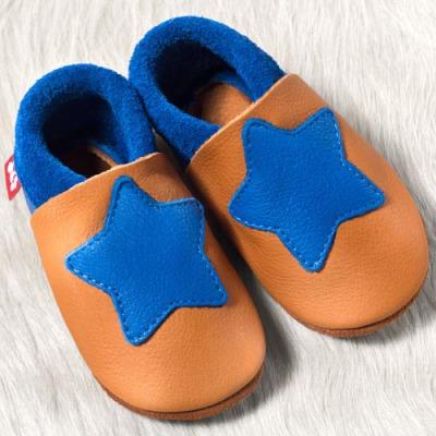 POLOLO SOFT - Chaussons souples en cuir naturel de tannage végétal Chausson Pololo PETITE ETOILE Eté Indien-Bleu  (18-33)