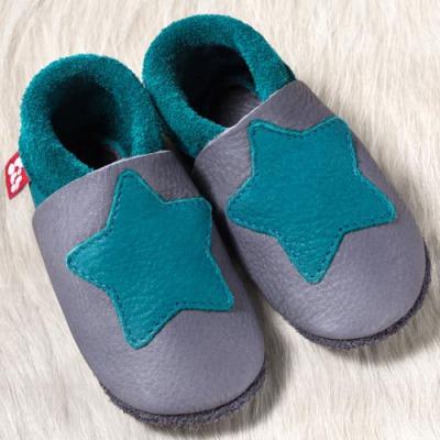 Chaussons en cuir souples, chaussettes, guêtres, jambières Chausson Pololo PETITE ETOILE Graphite-Turquoise  (18-41) – NOUVEAU