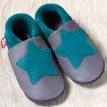 POLOLO SOFT - Chaussons souples en cuir naturel de tannage végétal pour enfants (24 à 39)/Chausson Pololo PETITE ETOILE Graphite-Turquoise  (18-41) – NOUVEAU