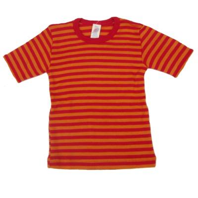 Sous-vêtements SOUS-PULL manches courtes à RAYURES ROUGE-ORANGE en LAINE et SOIE (86-164)