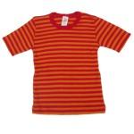 Sous-vêtements/SOUS-PULL manches courtes à RAYURES ROUGE-ORANGE en LAINE et SOIE (86-164)