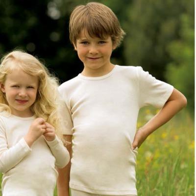 Sous-vêtements SOUS-PULL manches courtes ECRU en laine/soie (tailles 86 à 152)