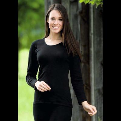Vêtements et sous-vêtements laine et soie Engel Natur SOUS-PULL en laine/soie FEMME – NOIR
