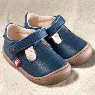POLOLO PREMIERS PAS - Chaussures bébé  en cuir naturel à semelle souple (19-24) POLOLO - PEDRO Bleu - Sandales premiers pas à semelles souples