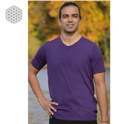 T-SHIRT Manches courtes T-Shirt col V en bambou manches courtes – VIOLET