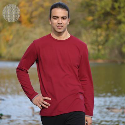 Pour homme T-Shirt FLEUR DE VIE – manches longues – ROUGE BORDEAUX