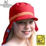 Coton Bio Ancienne Collection/PICKAPOOH –  CASQUETTE DE SOLEIL ENFANT HENRI - ROUGE (UV80)