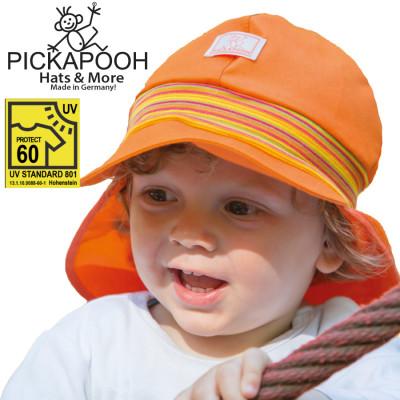 FINS DE SERIES - Chaussons Pololo  en cuir naturel pour toute la famille PICKAPOOH – CASQUETTE DE SOLEIL BEBE TIM – ORANGE (UV60)