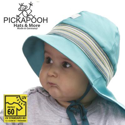 FINS DE SERIES - Chaussons Pololo  en cuir naturel pour toute la famille PICKAPOOH – CHAPEAU DE SOLEIL POMPIER – BLEU TURQUOISE (UV60)