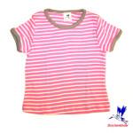 Débardeurs, T-shirts, pulls, gilets, multicapes et bodys/STORCHENKINDER – T-Shirt manches courtes à RAYURES ROSE-ECRU en coton bio