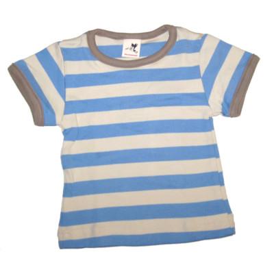 Débardeurs, T-shirts, pulls, gilets, multicapes et bodys STORCHENKINDER – T-Shirt manches courtes à RAYURES BLEU CIEL-ECRU en coton bio