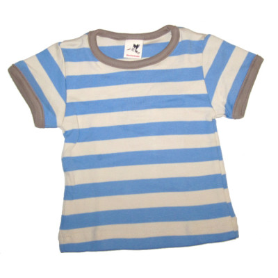 StorchenKinder STORCHENKINDER – T-Shirt manches courtes à RAYURES BLEU CIEL-ECRU en coton bio