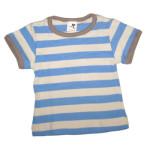 Débardeurs, T-shirts, pulls, gilets, multicapes et bodys/STORCHENKINDER – T-Shirt manches courtes à RAYURES BLEU CIEL-ECRU en coton bio