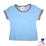 Débardeurs, T-shirts, pulls, gilets, multicapes et bodys/STORCHENKINDER – T-Shirt manches courtes BLEU CIEL en coton bio