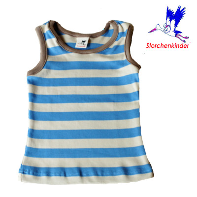 StorchenKinder STORCHENKINDER - MARCEL – T-shirt sans manches à RAYURES BLEU CIEL-ECRU en coton bio