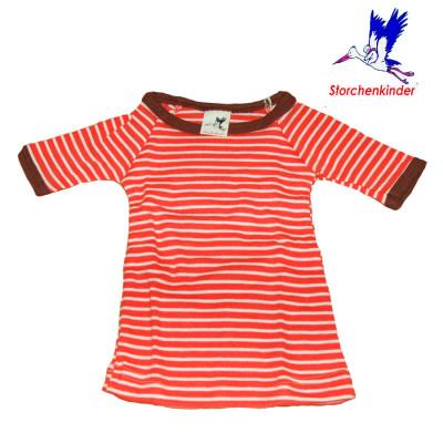 Racine STORCHENKINDER - T-Shirt NOUVEAU-NE en coton bio RAYURES SAUMON-ECRU - taille 50/56