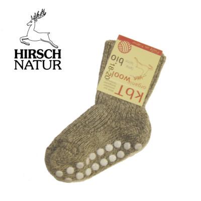Chaussettes Hirsch -Chaussettes antidérapantes en laine bio - Gris chiné