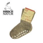 Racine/Hirsch -Chaussettes antidérapantes en laine bio - Gris chiné