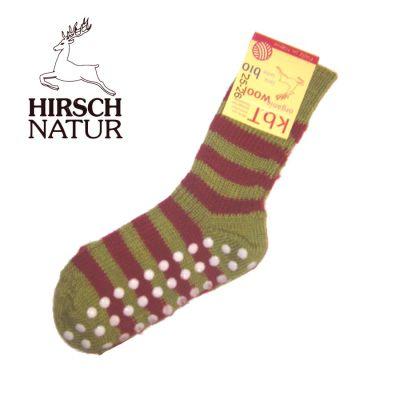Chaussettes Hirsch -Chaussettes antidérapantes en laine bio - Vert-Rouge