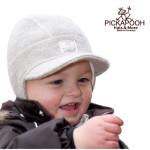 CHAPEAUX ET BONNETS/PICKAPOOH - Casquette bébé en laine LINUS - GRIS CLAIR