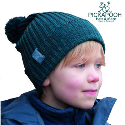 Racine PICKAPOOH - Bonnet en laine mérinos NINA - BLEU PETROLE
