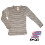 Racine/ENGEL – SOUS-PULL manches longues RAYURES ECRU-NOIX en laine/soie (86-152)