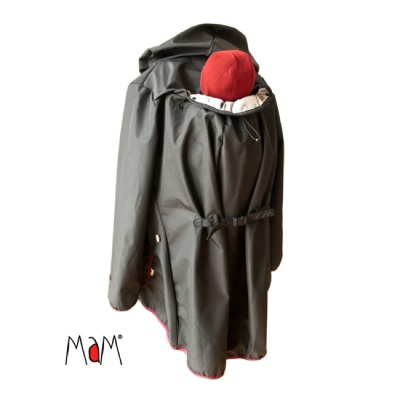 Racine MaM MOTHERHOOD COAT – SHADY NIGHT (noir) – Veste de maternité Portage Ventre/Dos Imperméable