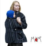 Racine/MaM MOTHERHOOD COAT – SILVER STRIPE – Veste de maternité Portage Ventre/Dos Polaire Imperméable
