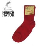 Racine/Hirsch -Chaussettes en pure laine bio - Rouge