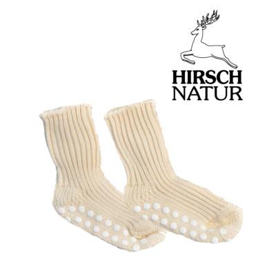Racine Hirsch -Chaussettes antidérapantes en laine bio - Ecru Nature