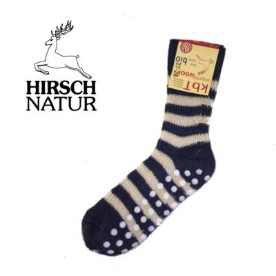 Racine Hirsch - Chaussettes antidérapantes en laine bio Marine-Ecru