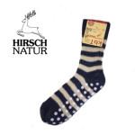 Racine/Hirsch - Chaussettes antidérapantes en laine bio Marine-Ecru